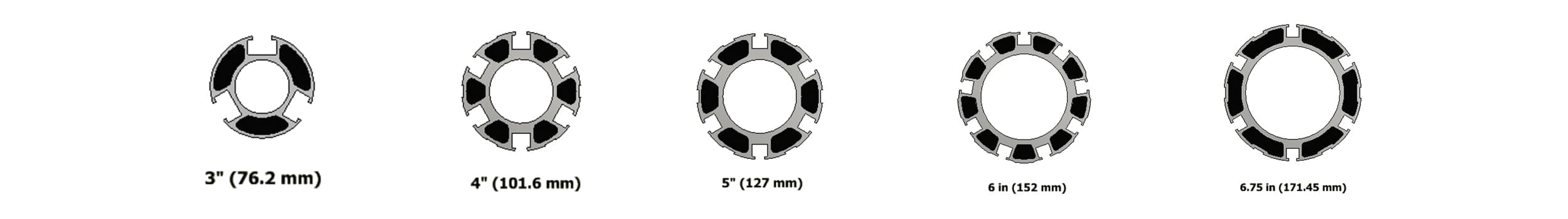Carbon fiber shaft diameters